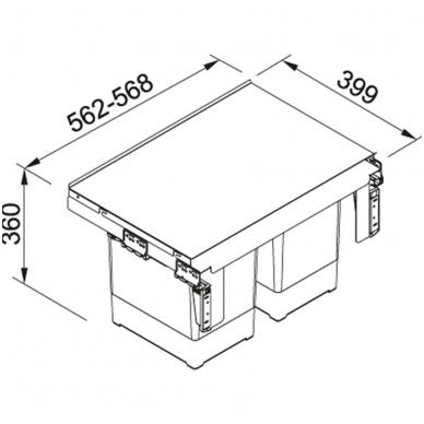 Šiukšliadėžė FRANKE Garbo 60-2 (18l+18l) 2