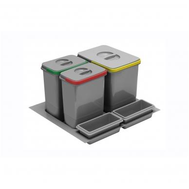 Šiukšliadėžė į stalčių Multino 600 1x15l+2x7l