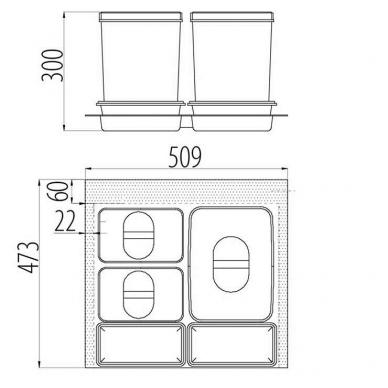 Šiukšliadėžė į stalčių Multino 600 1x15l+2x7l 2