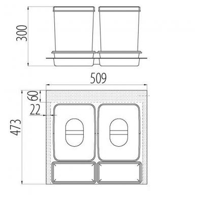 Šiukšliadėžė į stalčių Multino 600 2x15l 2