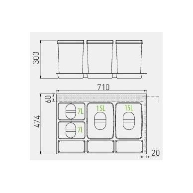 Šiukšliadėžė į stalčių Multino 800 2x15l+2x7l 2