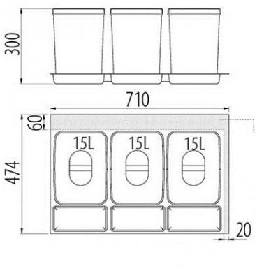 Šiukšliadėžė į stalčių Multino 800 3x15l 2