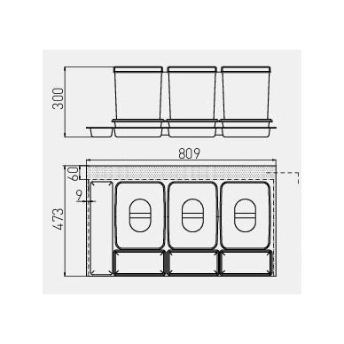 Šiukšliadėžė į stalčių Multino 900 3x15l+3x7l 2