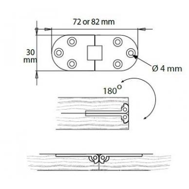 Siuvimo stalo lankstas 30x72x2 mm, nerūd.plienas SS 316 2