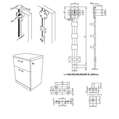 Šoninis centrinis užraktas MIC-851N/600 mm D.19x22 mm su nulenkiamu raktu 2