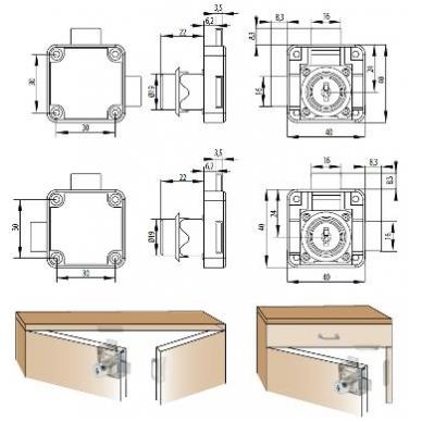 Spynelė 850 D.19x22 mm dvigubo rakinimo, dešinė 4