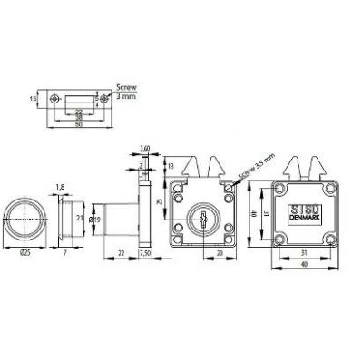 Spynelė 855 D.19x22 mm su vienodu raktu 2