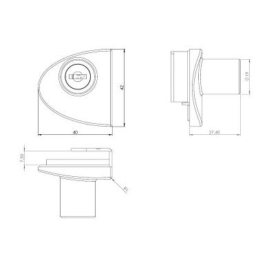 Spynelė dviguboms stiklo durelėms BADGE, aliuminis 2