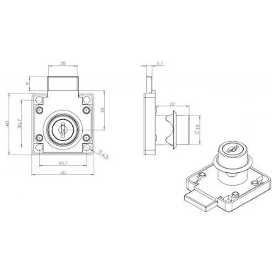 Spynelė MIC-850, 19x22mm, nikelis 3