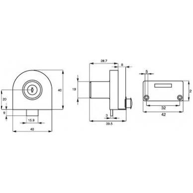 Spynelė stiklui 918 vienodais raktais vienguboms durims, chromas 2