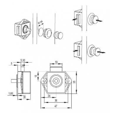 Spynelė su rankenėle 16 mm pl., aliuminis 4