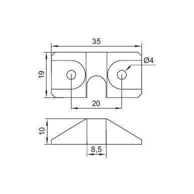 Stabdis centriniui užraktui plast.,juodas 2