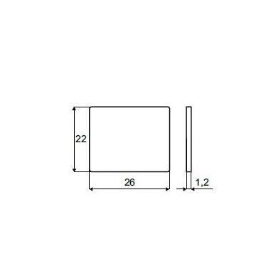 Stačiakampė priklijuojama plokštelė 26x22 mm, nikelis 2