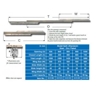 Stalo ištraukimo mechanizmas 400/530 mm, ištr.850 mm, apkrova 80 kg 2