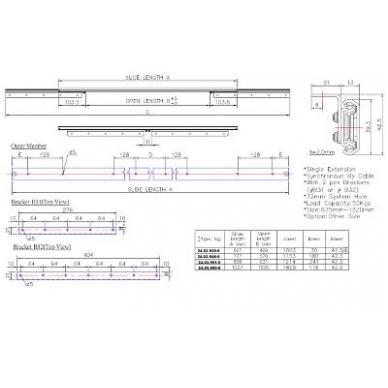 Stalo ištraukimo mechanizmas 777/570 mm, ištr.1153 mm, apkrova 45 kg 2