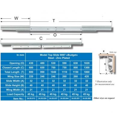 Stalo ištr.mechanizmas 9097-B 590 mm