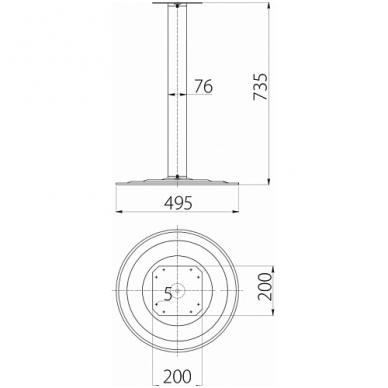 Stalo koja-bazė D.76x735 mm, bazė D.495 mm, chromas 2