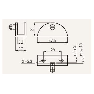 Stiklinės lentynos laikiklis WP2713- 54x22,5x25 mm, matinis chromas 2
