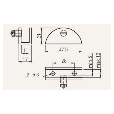 Stiklinės lentynos laikiklis WP2713- 54x22,5x25 mm, matinis chromas