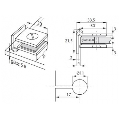 "Stiklo durų lankstas ""Bosch"" 25x30mm 4"