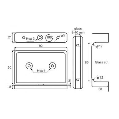 Stiklo lankstas LODZ 50x92x21 mm, st. storis 8-10 mm, nerūd. plienas 2