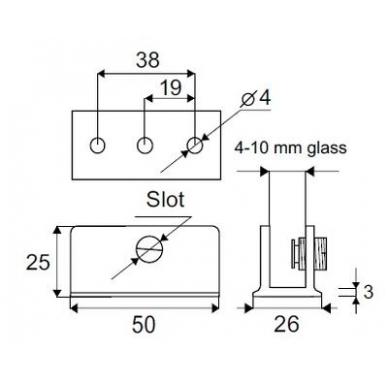 """Stiklo lentynos laikiklis """"RECTA"""" 50x26x25 mm, didelis 2"""