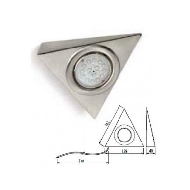 Trikampis halogenas su diodais be jungiklio, aliuminis  šalt. balta 12V, 1W