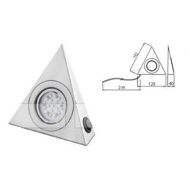 Trikampis halogenas su diodais su jungikliu, aliuminis  šilt. balta 12V, 1W