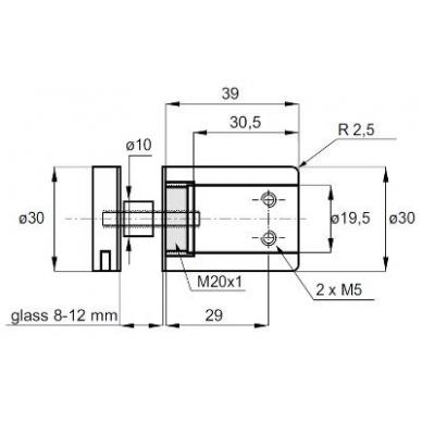 Tvirtinimas stiklo/ sienos laikikliui 2