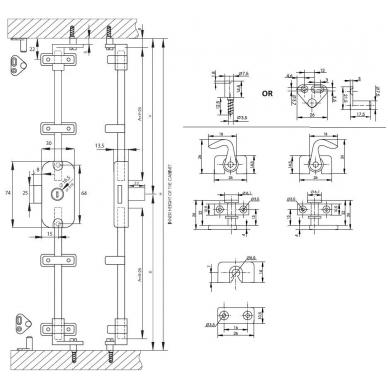 Užraktas spintos durims X-922,16.5x22, nikelis 4
