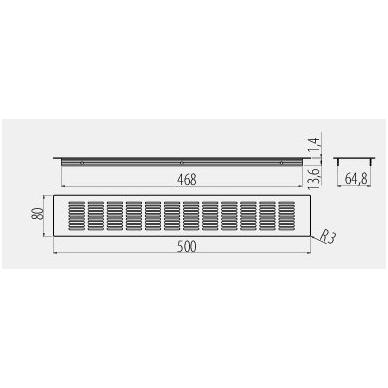 Ventiliacinės grotelės 500x80 mm, šlif.plienas 2