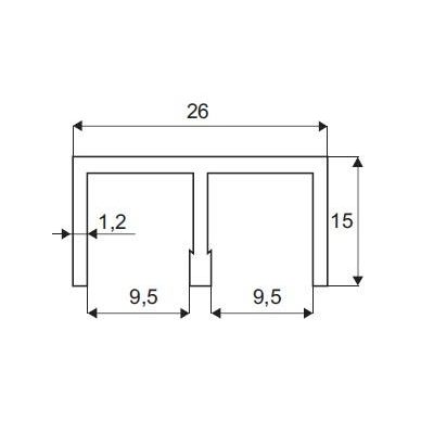 Viršutinis aliuminio bėgelis sistemai 2740, 2m 2