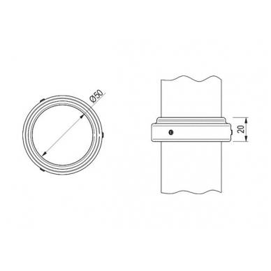 Žiedas vamzdžiui D.50mm,chromas WE09.0501.01.001 2