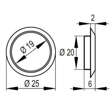 Žiedelis D.19 mm spynelei 14.01.052, nikelis 2